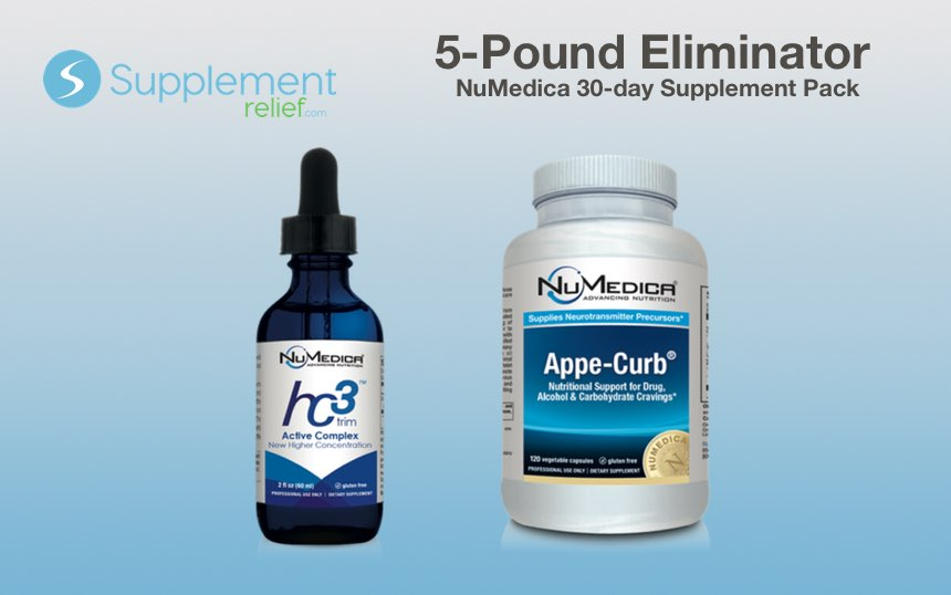 5-Pound Eliminator Supplement NuMedica Pack includes hc3 Trim Active Complex and Appe-Curb