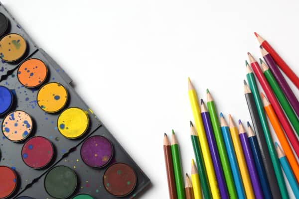 drawing pencils and paint colors for creating art at home