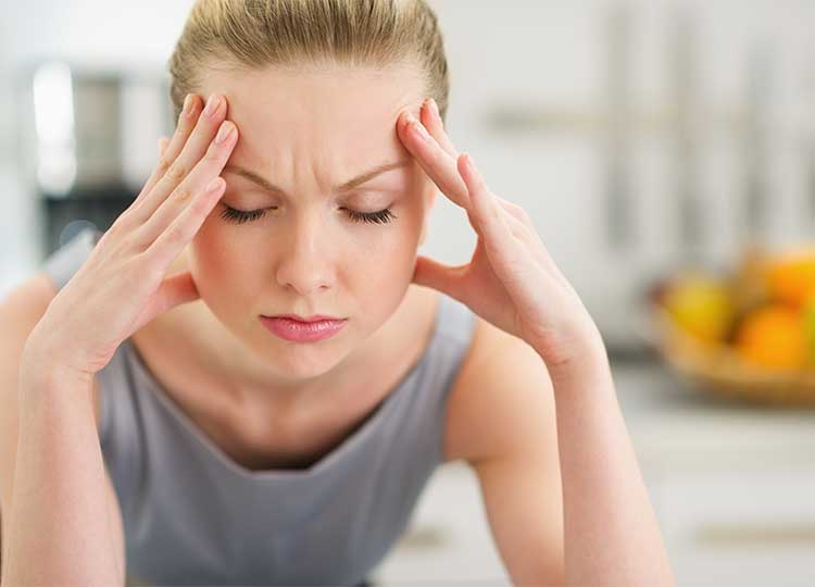 Young Blonde Woman, Holding Head,  Stressed Out