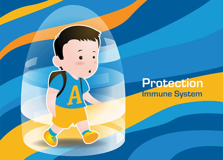 Drawing Of Boy In Bubble Protected by Immune System