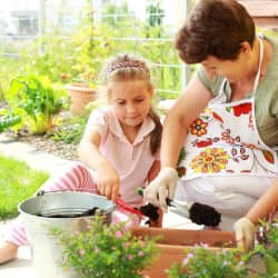 child and her grandmother gardening at home