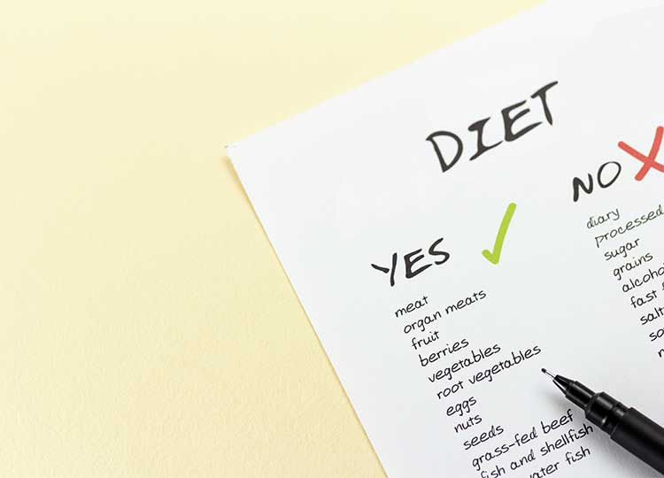 a checklist of diet foods
