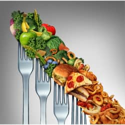 healthy and unhealthy foods on four forks show a continuum from healthy to unhealthy depicting the standard American diet