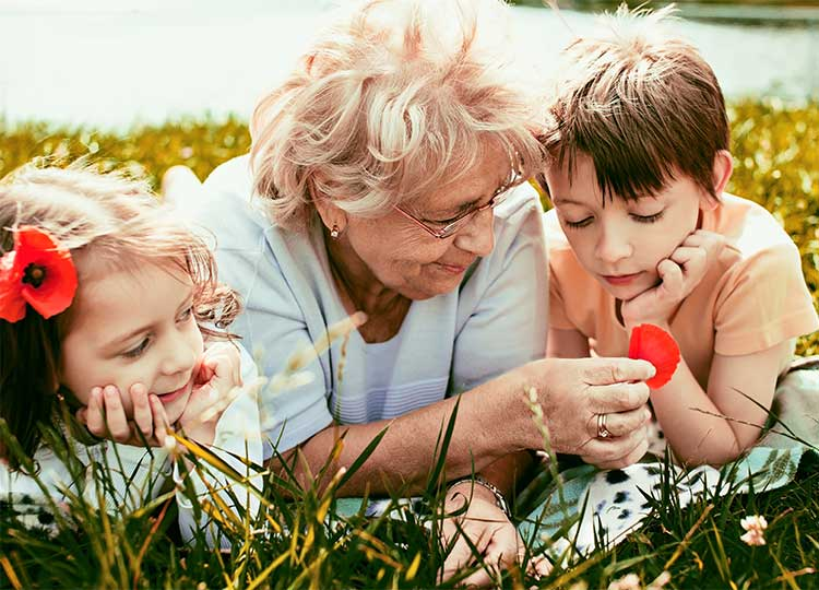 Elderly Woman Teaching Grandchildren About Flowers In A Field