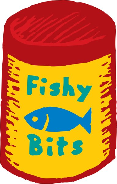 red and yellow cannister depicting fish food called