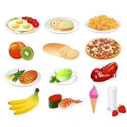 a collection of food images including healthy and unhealthy foods