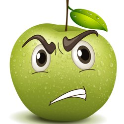green apple with cartoon face looking perplexed