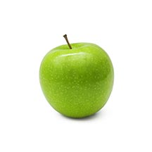 Green apple with white background.