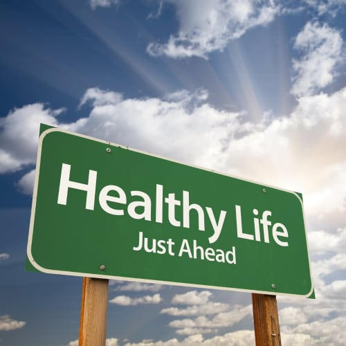 street sign depicting Healthy Lifestyle Just Ahead