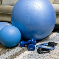 balance ball, dumbbells, rope, medicine ball and other fitness equipment