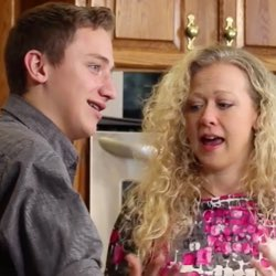 Isaac and Libby Wright baking Sweet Potato Casserole in home kitchen