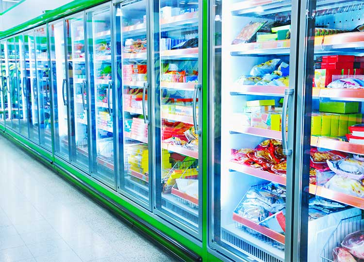 grocery store isle of frozen, packaged foods