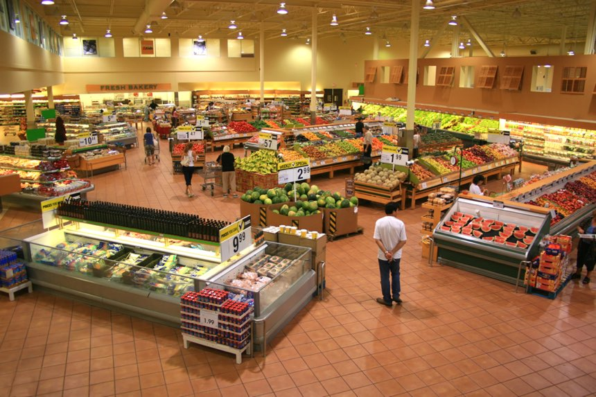 modern grocery store with natural, whole foods on the outer isles