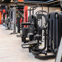 modern gym interior with fitness equipment