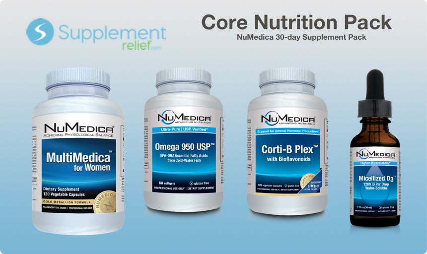 Core Nutrition Supplement Pack - 30 day includes NuMedica Corti-B Plex, Micellized D3, MultiMedica and Omega 950
