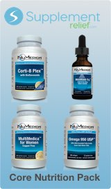Core Nutrition Pack Includes NuMedica Corti-B Plex, Micellized D3, MultiMedica and Omega 950 USP