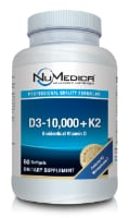 NuMedica D3-10,000 + K2 - 60 softgels dietary supplement