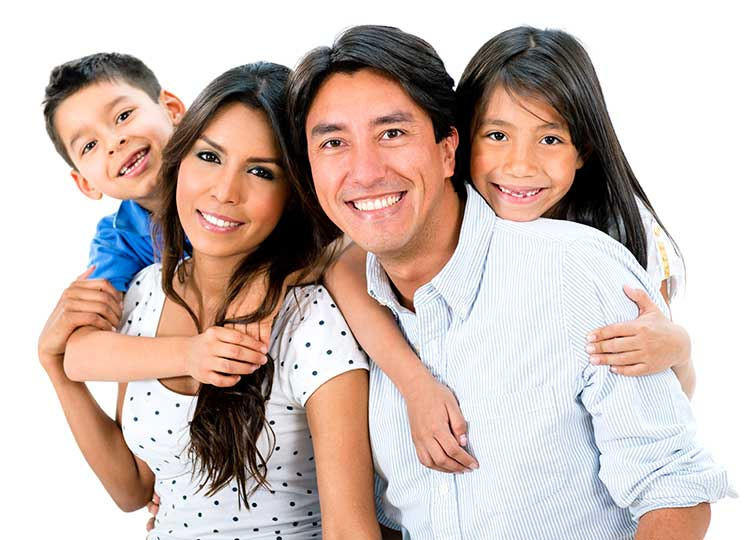 hispanic family smiling