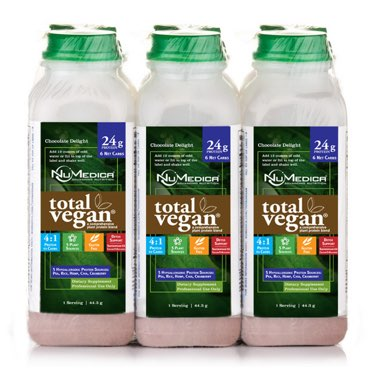 NuMedica Total Vegan Protein Chocolate 6-Pack - 6 plastic bottles