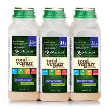NuMedica Total Vegan Protein Vanilla 6-Pack - 6 plastic bottles