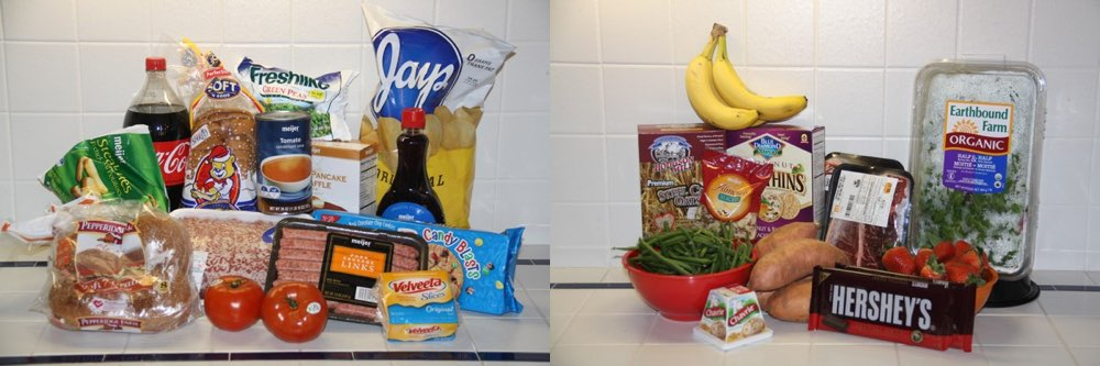 grocery shopping items depicting healthy versus unhealthy food