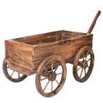 old wooden wagon with pull handle