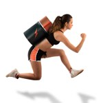 woman running with battery strapped to back