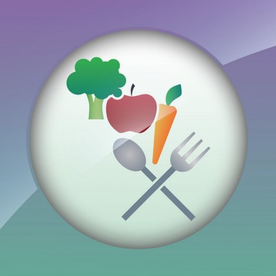 illustration of broccoli, apple, carrot with spoon and fork utensils