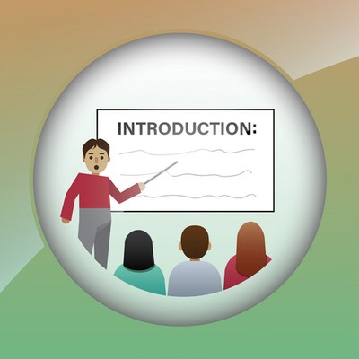 illustration of an introduction showing a teaching reviewing course expectations in front of the students